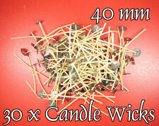 SALE - 40% ! 30 x CANDLE Cotton WICKS 40mm PRE WAXED, Stoppini per Candele