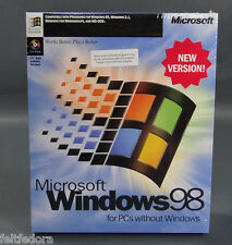 WINDOWS 98 NEW VERSION CD ROM IN SEALED BOX FULL COMPLETE OPERATING SYSTEM MINT