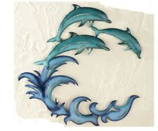 Beach Theme Decor Indoor/Outdoor Metal Wall Art Fish Dolphins Ocean Waves Blue
