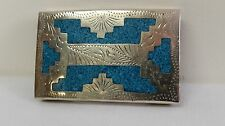 Vintage Mexico Alpaca Silver Turquoise Chip Inlay Southwest Belt Buckle Western