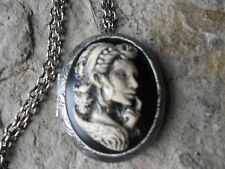 ZOMBIE WOMAN, TATOO, OWL,GOTH (HAND PAINTED) CAMEO ANTIQUED SILVER PLATED LOCKET