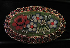 LARGE VINTAGE ESTATE HAND MADE ITALIAN ITALY MICRO MOSAIC FLORAL FLOWER BROOCH