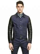 Roberto Cavalli Quilted Leather Sleeve Blue Denim Jacket Size 48 Crocodile