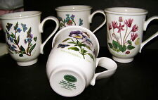 "PRETTY SET of 4 PORTMEIRION COFFEE MUGS ""BOTANIC GARDEN"" New Old Stock Excellent"