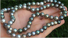 9-10 mm natural tahitian gray green multicolor pearl necklace 20 inch