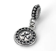 Silver Shamrock 3 Leaf Clover Dangle Charm European Bead Fits European Bracelet