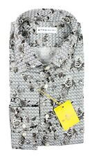 Men's ETRO Gray Floral Cotton Spread Collar Dress Shirt 15 1/2 M 40 NWT $395!