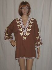 VINTAGE 70s TUNIC TOP blouse HIPPY boho EMBROIDERED BUTTERFLIES cotton XLARGE