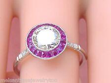 ESTATE ART DECO .96ct BRILLIANT DIAMOND RUBY HALO PLATINUM ENGAGEMENT RING