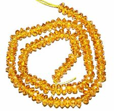 """CR340j Yellow Citrine 6x3mm Hand-Cut Faceted Rondelle Crystal Glass Beads 13"""""""