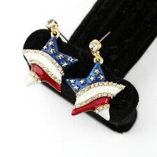 Boucles d`Oreilles Clous Doré Etoile Drapeau Américain Bleu Blanc Rouge BB 8