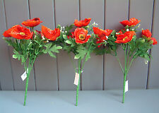 3 x Artificial Small Poppy Flower Bushes