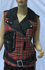 Ralph Lauren Denim and Supply Leather Jacket Vest Womens XSmall Black Red Plaid