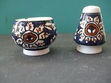 VINTAGE HANDPAINTED BLUE/WHITE PORCELAIN SALT CELLAR AND PEPPER SHAKER