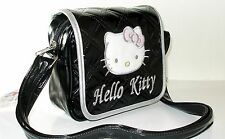 hello kitty embroidered face head black messenger bag purse shoulderstrap bag
