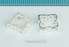 2x STERLING SILVER CZ CRYSTAL SQUARE SPACER SEPARATOR CONNECTOR BEAD 10mm #2603