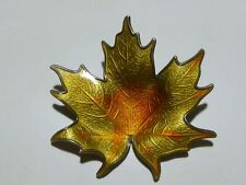 HROAR PRYDZ STERLING SILVER ENAMEL NORWAY 925s AUTUMN LEAF BROOCH PIN MINT!