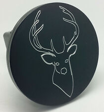 """DEER, BUCK HEAD, Billet Aluminum Hitch Cover Plug, Black  4"""" Round  Made in USA"""