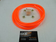 "ELECTRIC ORANGE 1/4"" FUEL LINE & FILTER KIT SNOWMOBILE DIRT BIKE QUAD MOTORCYCLE"