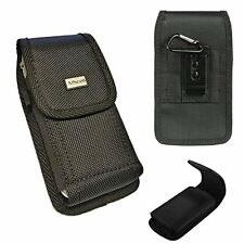Rugged Black Nylon Pouch Canvas Case 2 Way Belt Loop Holster+Hook For LG G6 G5