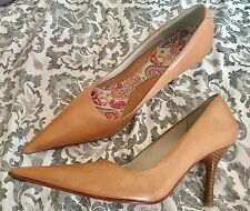 RRP £90 Kurt Geiger London KG Tan Leather Court Point Heel Shoes  Uk 5 Eu 38