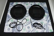 Two(2) 58mm Snap on Center Pinch Lens Cap Cover Protector & Lens Cloth Combo
