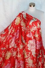 100% Charmeuse Silk Fabric Flowers on Red M67 2.5 Yards