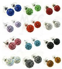 25 pair/lot mix 16 random color 10mm hot crystal shamballa earrring studs
