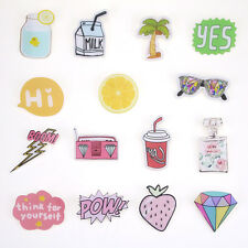 15pcs Funny Acrylic Brooches Set Letter Fruit Pin for Clothes/Bags/Backpacks