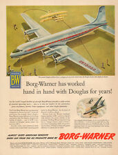 1953 Ad  BORG WARNER Parts in DOUGLAS DC-7  B-66B  Nice Plane Art !   -033015