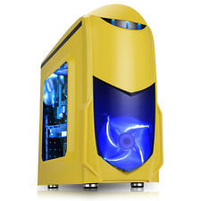Game Max Nero Yellow MATX Gaming PC Case Blue Led Fan w /W USB 3.0
