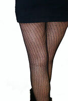 3 Pairs of Fishnet Patterned Tights Black S/M & M/L