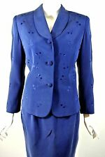 TRAVIS AYERS sz 6/S Navy Blue Silk Women's 2pc Skirt Suit For work Cocktail