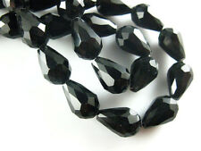 20pcs Black Glass Crystal Teardrop Beads Spacer Jewelry Finding 10x15mm Charms