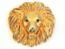 "Doreen Ryan Signed Lion's Head Gold Tone Large Belt Buckle 3.5"" DR"