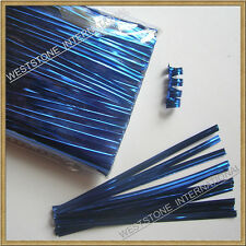 "1000pcs 4"" Blue Metallic Twist Tie for Candy Lollipop Cello Bag"