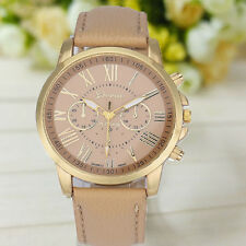 "NEW Geneva Women""s Roman Numerals Faux Leather Analog Quartz Watch Beige Cheap"