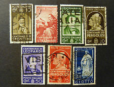 "ITALIA,ITALY REGNO 1937 "" Centenari di Uomini Illustri  "" 7 Valori USED"