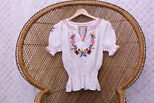 Vintage hungarian embroidered 70s cotton boho top penny lane crop lace blouse  M