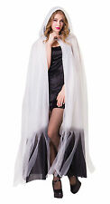 LADIES WHITE HOODED CAPE LONG FANCY DRESS GHOST BRIDE COSTUME HALLOWEEN OUTFIT