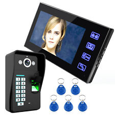"7"" LCD Fingerprint Video Door Phone Doorbell Monitor Intercom System RFID Card"