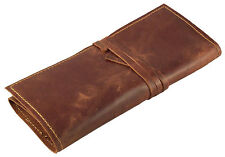GENUINE Leather Pencil Roll - Pen and Pencil Case - Pencil Wrap Handmade Vintage