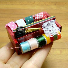 Dollhouse Miniature Toy 1:12 Knitting Wooden Material Basket Length 5.6cm SPO397