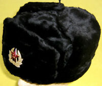 Russian Navy/Sub Winter Hat+Insignia/NEW/Black Color/L-XL/FREE SHIPPING IN USA