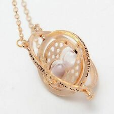 Harry Potter Hermione Granger Rotating Spins Time Turner Necklace Gold Hourglass