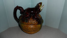 "VINTAGE MAJOLICA FROG ON TOP OF MELON PITCHER / WATER JUG 6"" TALL x 7"" LONG"