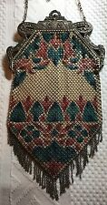 VINTAGE MANDALIAN ART DECO FANCY FLAPPER ENAMEL PAINTED MESH PURSE