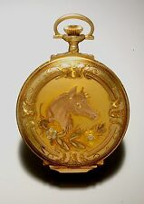 Rare Gold Illinois Watch with Horse Design Vintage 1920s w/ Aristocrat Movement