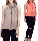 Ladies Chiffon Sleeveless Pussy Bow Tie Neck Work Blouse Shirt Top 8 10 12 14 16