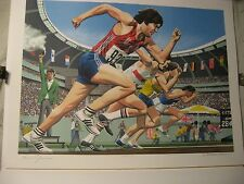 1976 Olympics BRUCE JENNER Hand Signed Lithograph Print 206/500  100 Meter Dash